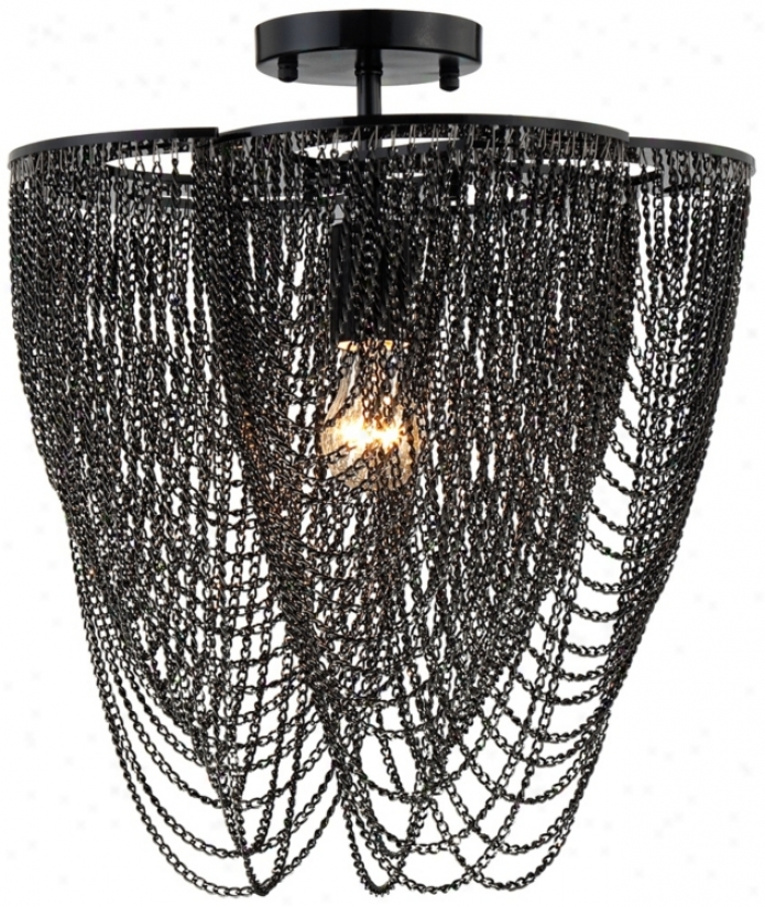 Drape Chain Black Semiflush Ceiling Fixture (u3599)