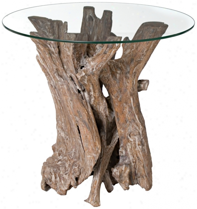 Driftwood With Glass Top Side Table (h8585)