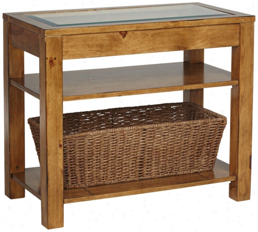 Dryden Pine Storage Basket Accent Table (t1945)