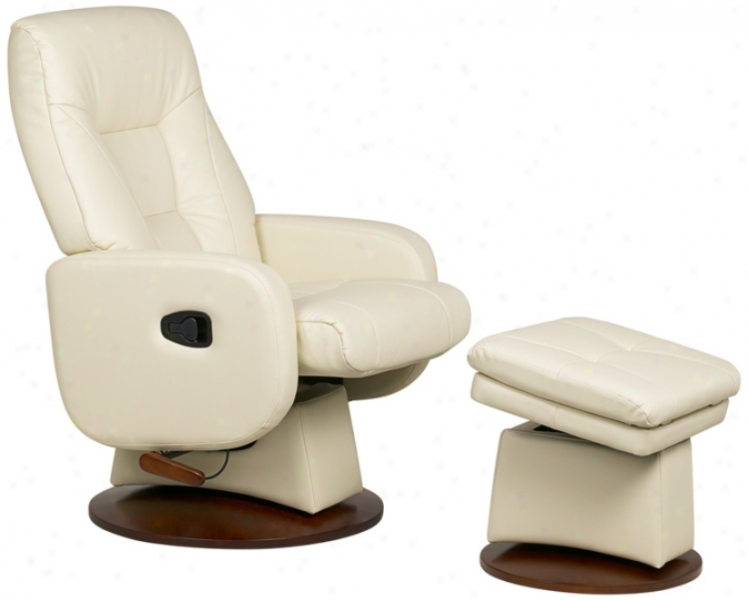 Duo Collection Vanilla Swivel-glider-recliner With Ottoman (p7558)