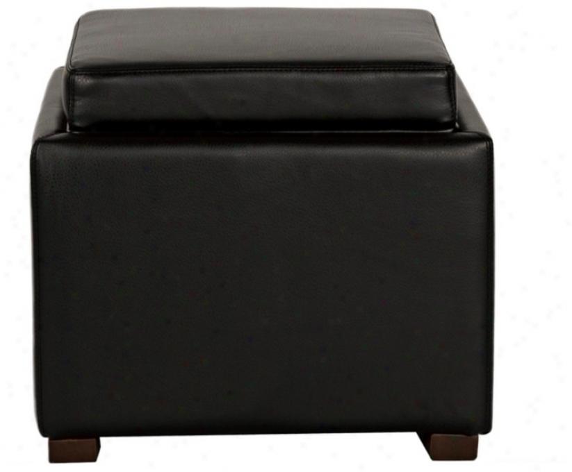 Dyaln Black Bonded Leather Storage Ottoman (u7970)