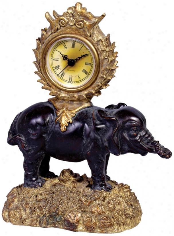Ebony Elephant 9 1/2q&uot; High Desk Clock (j3092)