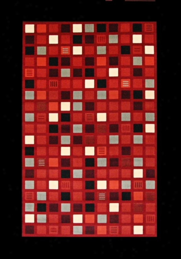 Econox Cllection Mini Retro Red Multi Squares Area Rug (r8283)