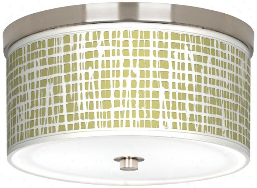 """Ecru Screen Linen Nickel 10 1/4"""" Wide Ceiling Light (j9214-t9328)"""