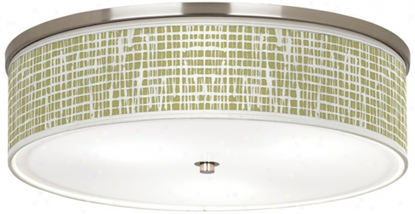 "Ecru Screen Linen Nickel 20 1/4"" Wide Ceiling Light (j9213-t9326)"