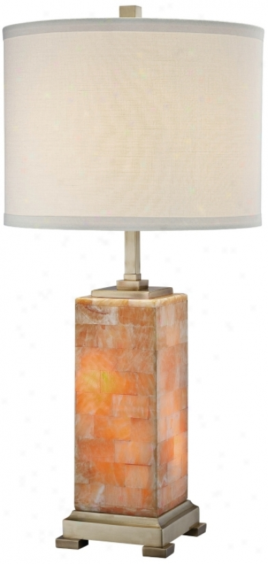 Elliot Marble With Off-white Shade Night Light Tabl3 Lamp (u8339)
