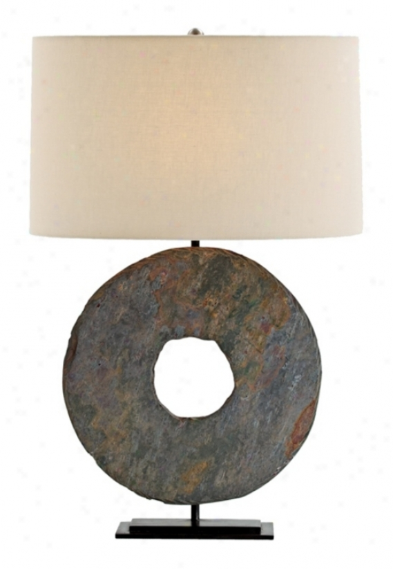 Emerson Slate And Natural Iron Table Lamp (m6069)