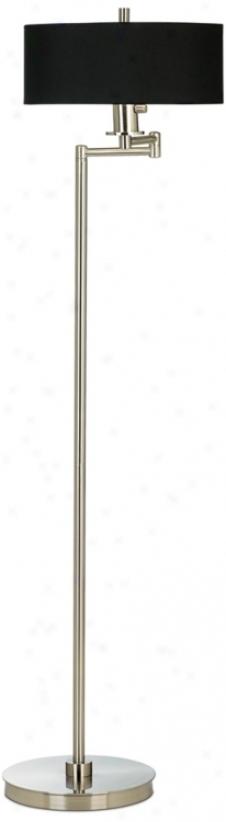 Energy Efficient Brushed Steel Swing Arm Floor Lamp (13024-m2468)