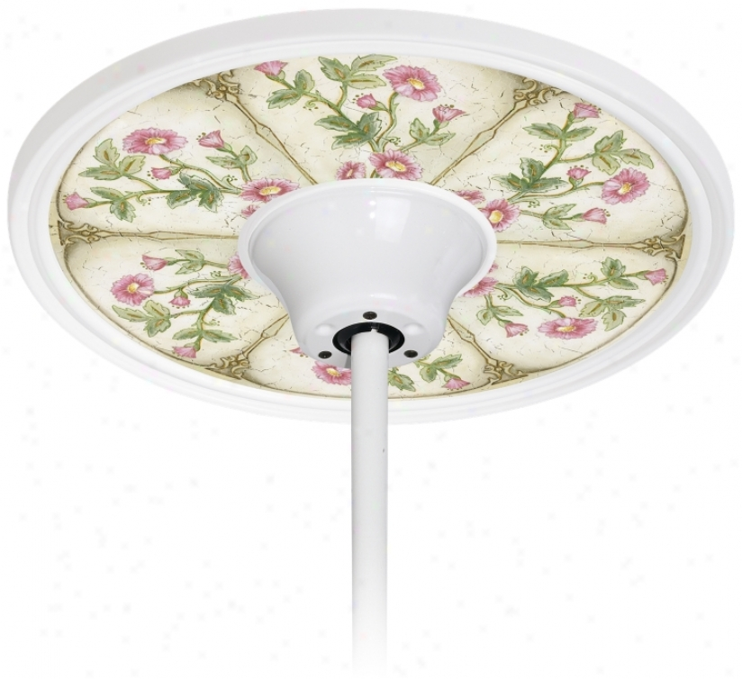 "English Garden Pink  6 1/2"" Opening White Fan Medallion (h3292-h3668)"