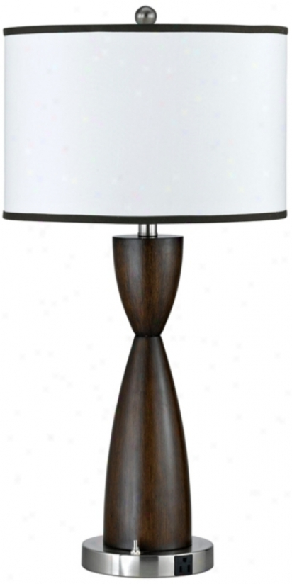Espresso Faux Wood Hourglass Table Lamp (h7219)