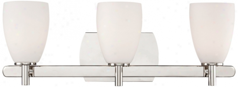 "Etched Glass 23"" Wid3 Polished Nickel Bathroom Wall Light (t9712)"