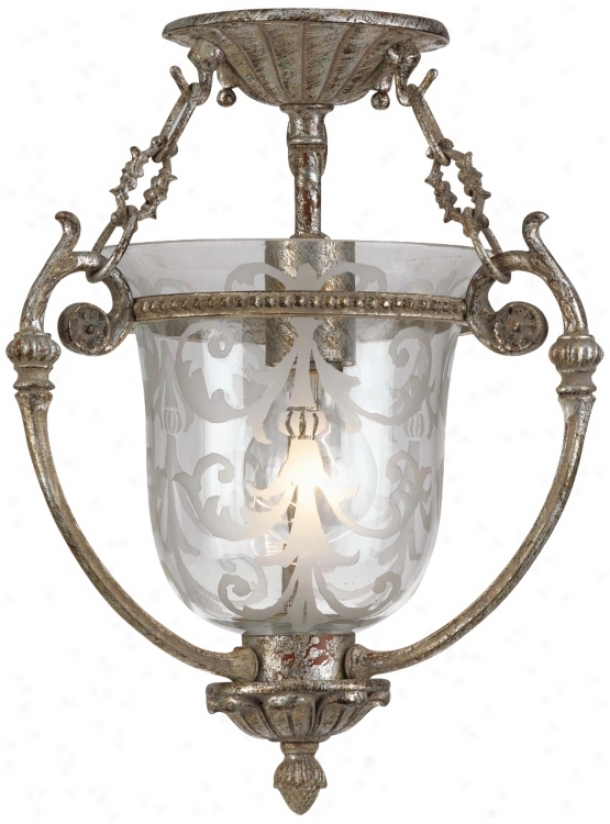 "Etched Glass Aged Silver 13"" High Ceiling Fixture (g6727)"