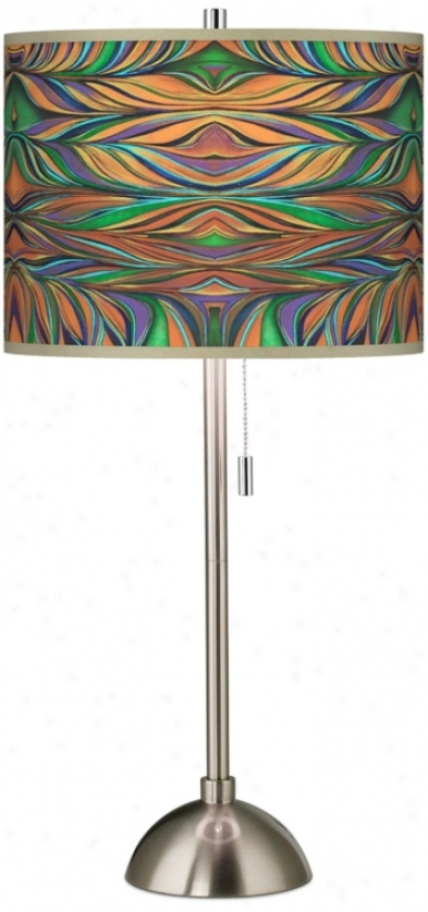 Exotic Peacock Giclee Shade Contemporary Table Lamp (60757-v5918)
