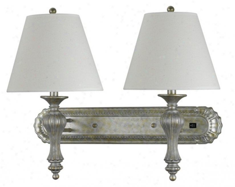 Fairfield Double Antique Silver God Wall Lamp (g9394)