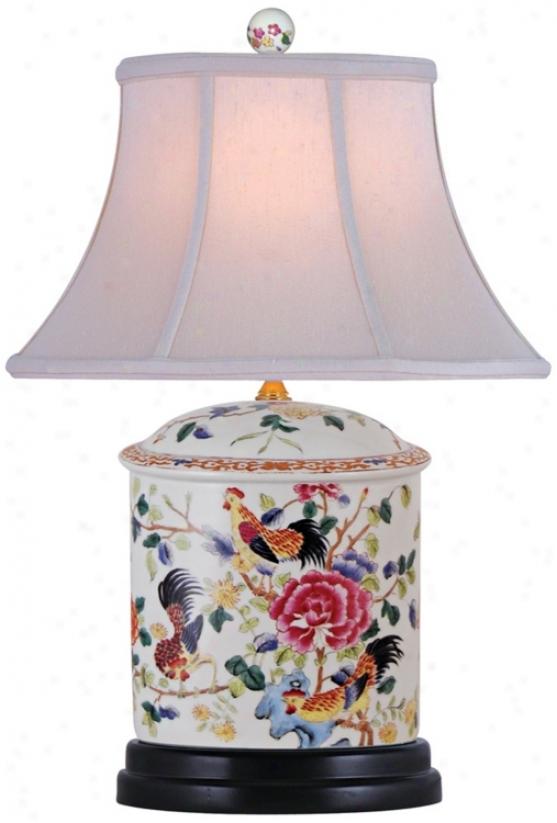 Famille Rose Oval Porcelain Table Lamp (n2044)