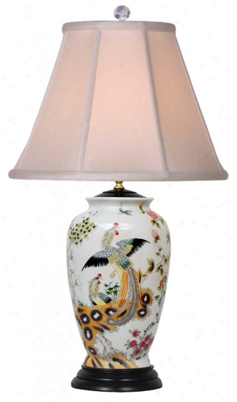 Famille Rose Rooster Pattern Porcelain Vase Table Lamp (j4935)