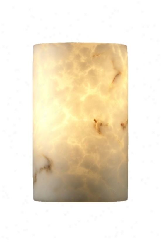 Faux Alabaster Small Cylinder Wall Sconce (01079)