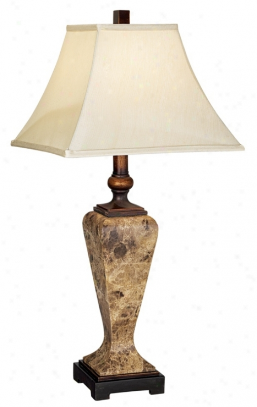 Faux Marble And Square Bell Shade Table Lamp (81596)