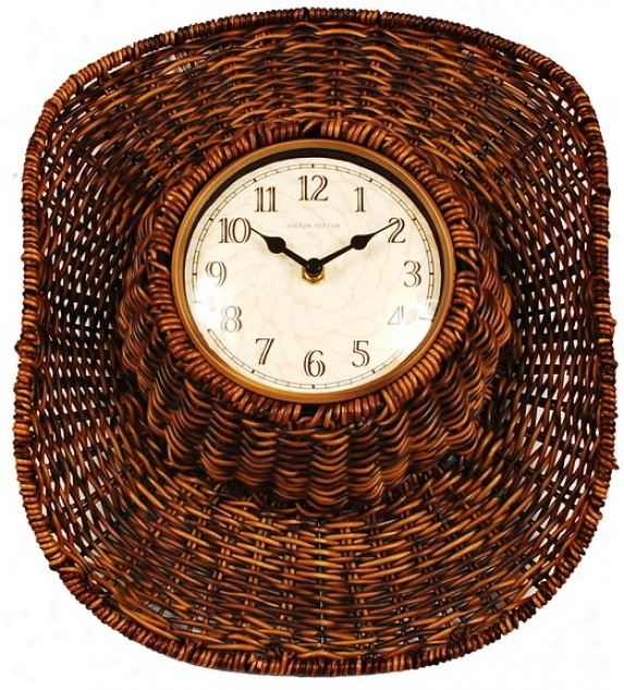 "Faux Rattan Cowboy Indoor-outdoor 14"" High Wall Clock (p8960)"