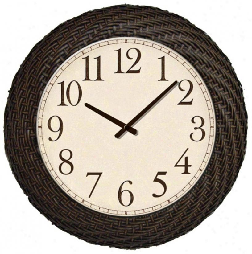 "Faux Ratran Indoor-outdoor 18 1/2"" Round Wall Clock (p8959)"