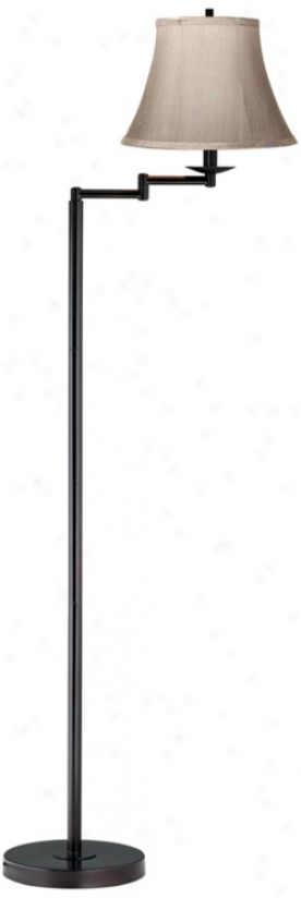 Faux Silk Dove Grey Bronze Finish Siwng Arm Floor Lamp (41523-42985)