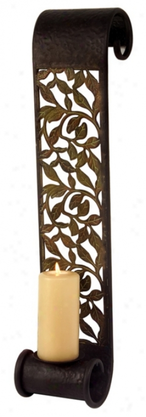 Filigree Iron Leaf Sconce (m8432)