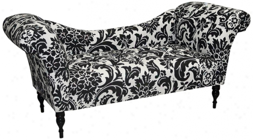 Fiorenza Black And White Upholstered Chaise Lounge Chair (w3874)