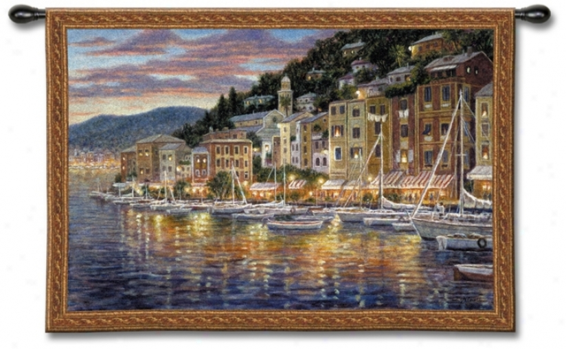 "Fishing Viplage Harbor 52"" Wide Wall Tapestry (j8943"