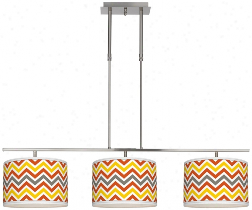 "Flame Zig Zag 46"" Wide Bar Hanging 3 Drum Island Llght (m3236-w3693)"