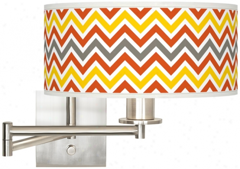 "Flame Zig Zag Brushed Steel 12"" Wide Drum Swing Arm Lamp (k1164-w3475)"