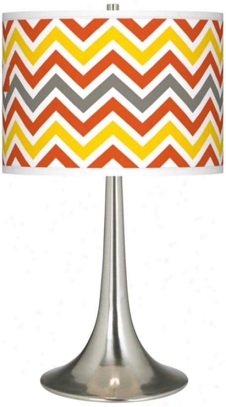 Flame Zig Zag Giclee Trumpet Table Lamp (r1676-w3594)