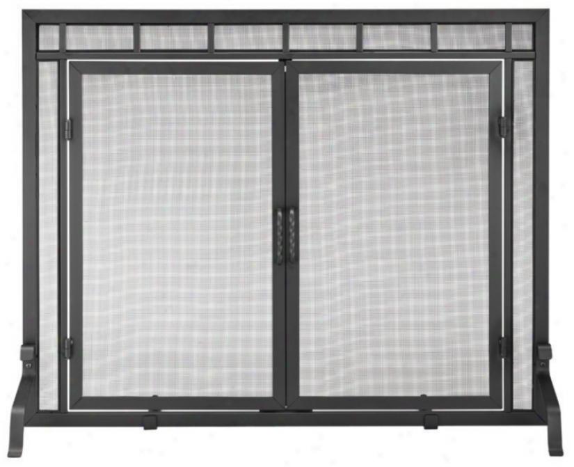 Flat 39&quoot; Wide Modern Fireplace Screen Attending Center Doors (u9500)