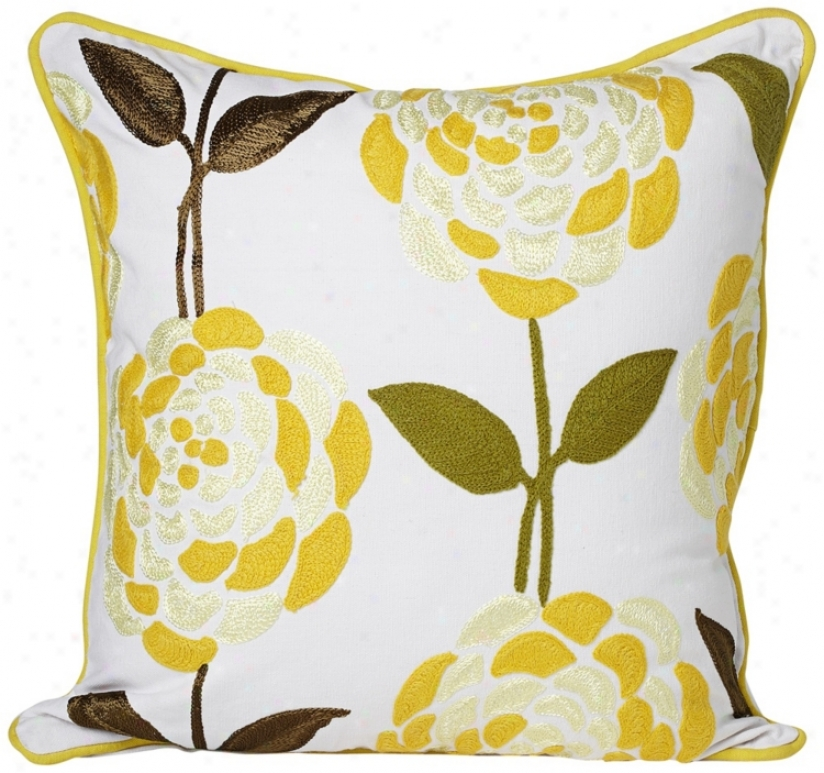 Fleur 18&quot; Adjust Floral Print Decorative Fling Pillow (v4848)