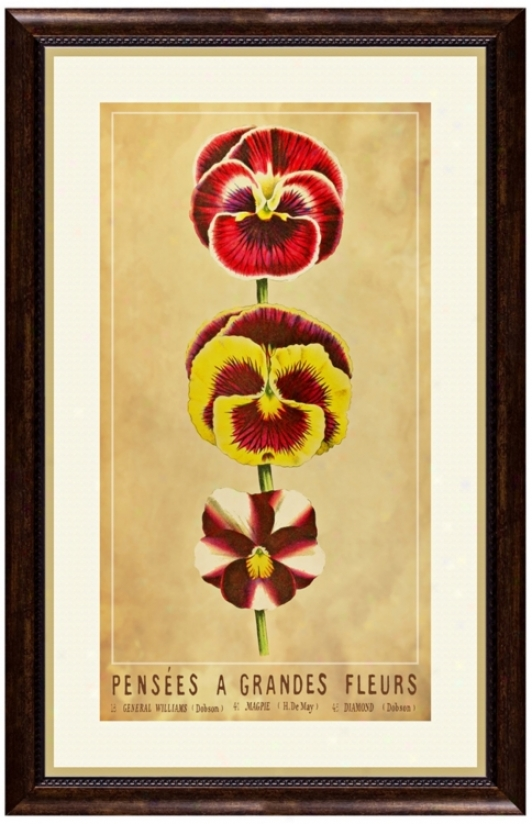 "Fleurs B 22 1/2"" High Framed Botanical Wall Art (w0488)"
