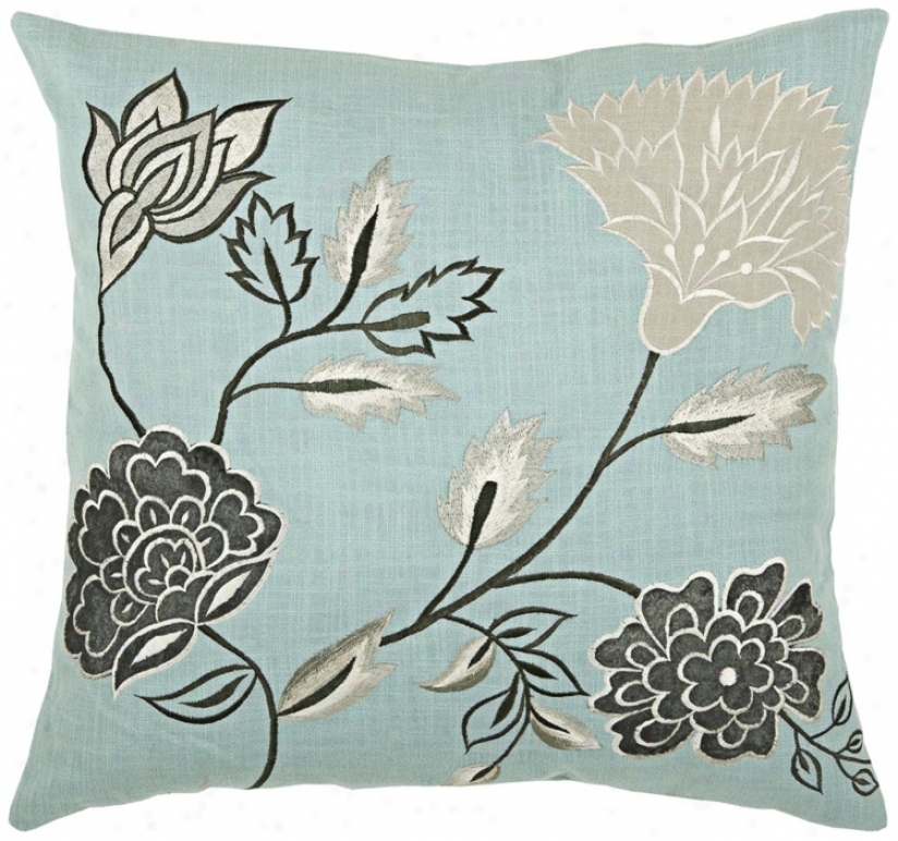 "Floral 18"" Square Decorative Pillow With Hidden Zipper (v8952)"