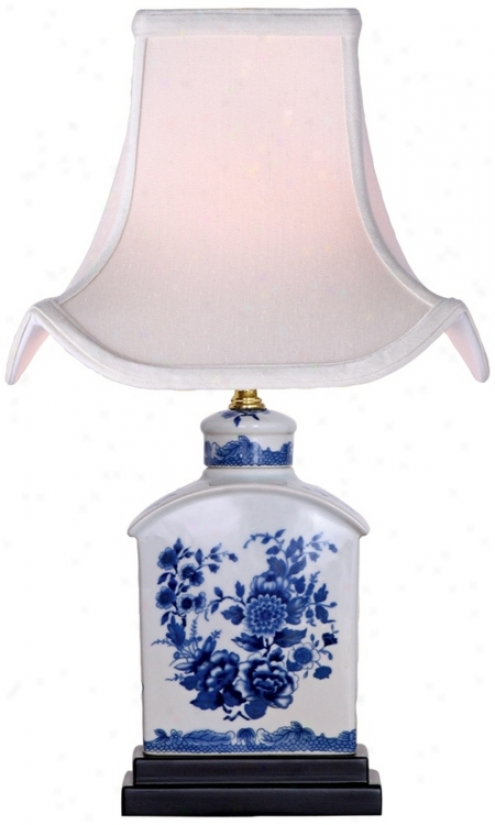 Floral Blue And White Mini Tea Jar Porcelain Table Lamp (v2489)