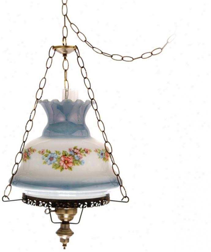 """Floral Blue Glass 17"""" Wide Plug-in Swag Chandelier (j7126)"""