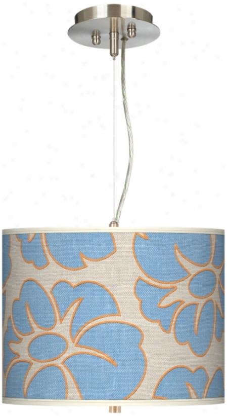 """Floral Blue Silhouette 13 1/2"""" Wide Pendant Chandelier (17374-t6573)"""