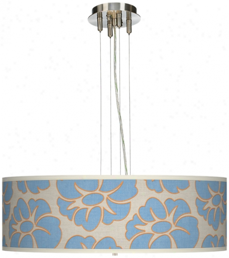 "Floral Blue Silhouette 24"" Wide 4-light Pendant Chandelier (17276-t6571)"