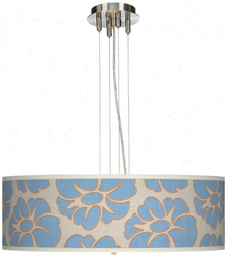"""Floral Blue Silhouette 24"""" Wide 4-light Pendant Chandelier (17276-t6571)"""