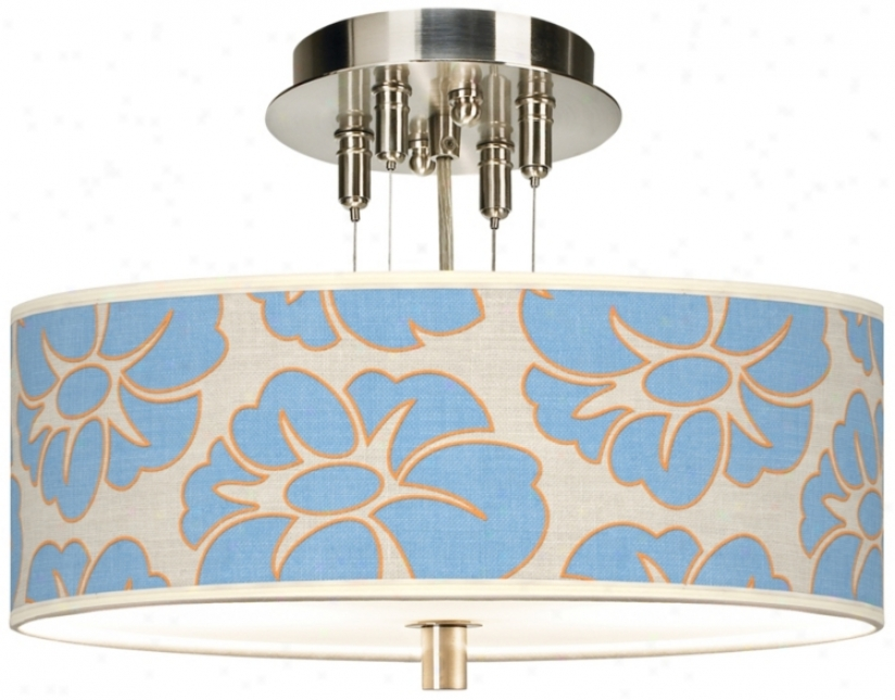 """Floral Blue Silhouette Giclee 14"""" Wide  Ceiling Light (5536-9t5799)"""