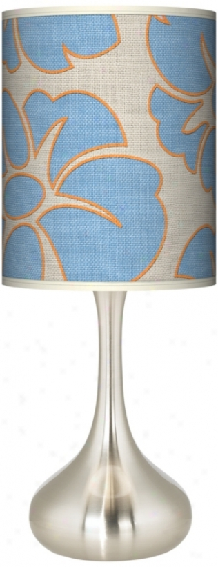 Floral Blue Silhouette Giclee Kiss Table Lamp (k3334-t5821)