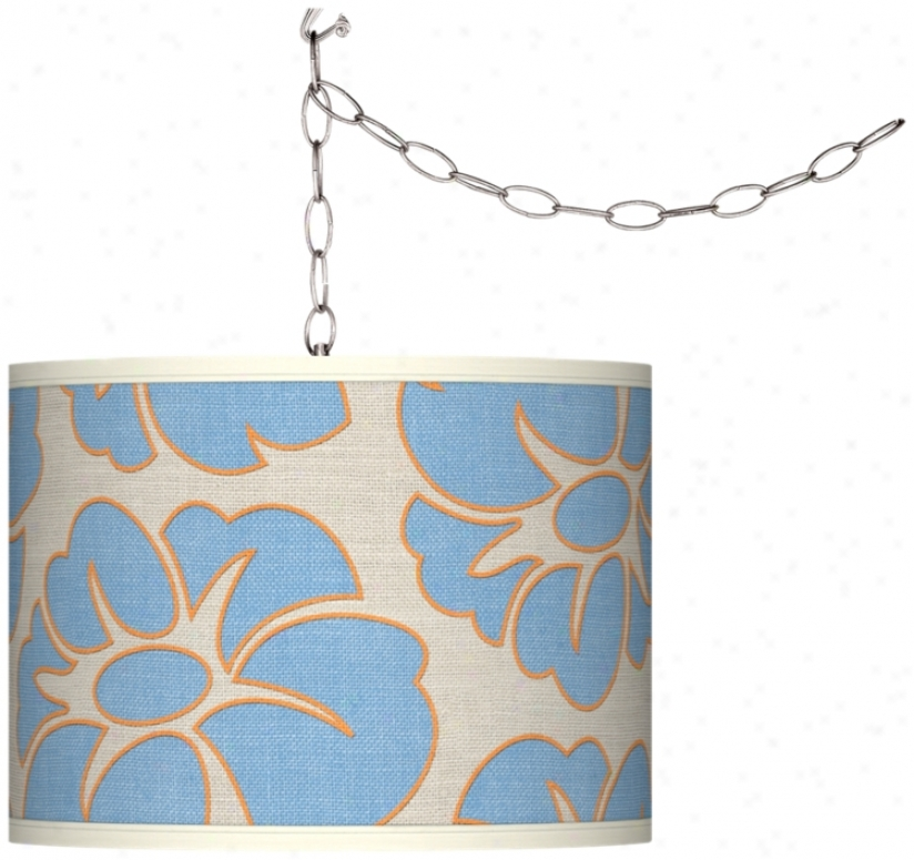 Floral Blue Silhouette Plug-in Swag Chandelierr (f9542-t6579)
