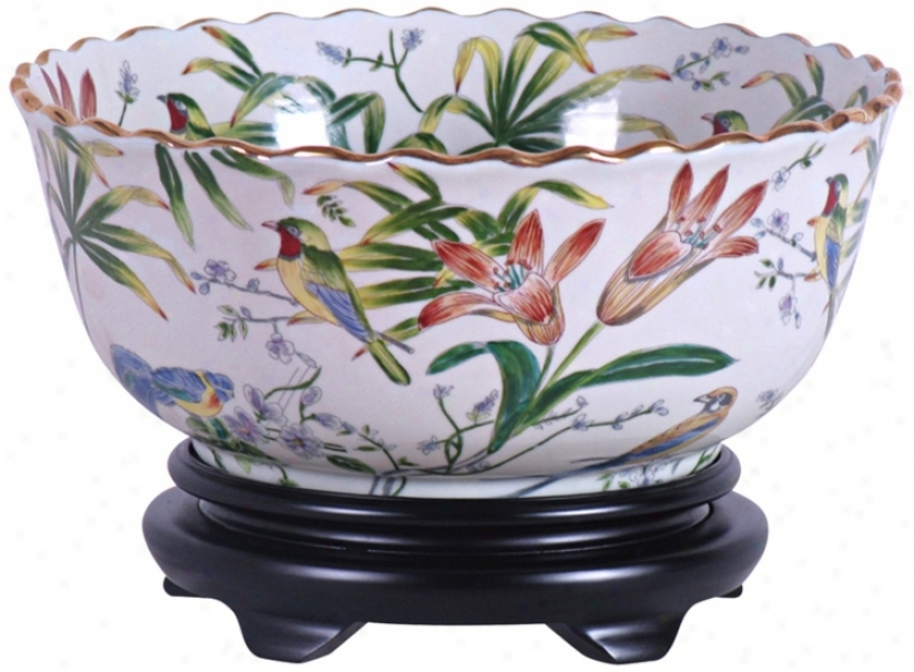 Floral Painted Porcelain Basin With Base (v2636)