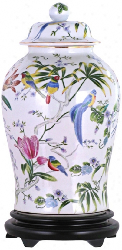 Floral Painted Porcelain Temple Jar With Base (v2674)