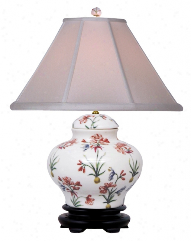 Floral Pattern Porcealin Jar Table Lamp (j4933)