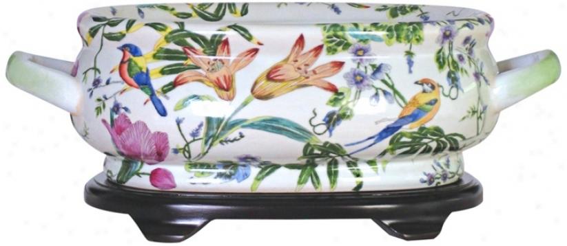 Floral Porcelain Footbath With Base (v2647)