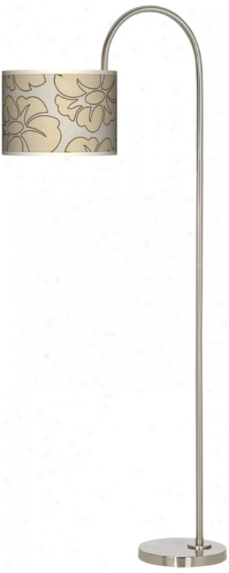 Floral Silhouette Arc Tempo Giclee Floor Lamp (m3882-t5830)