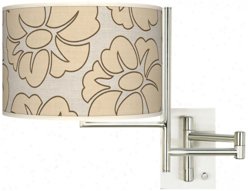 Floral Silhouette Giclee Steel Plug-in Swing Arm Wall Light (k1148-t6626)
