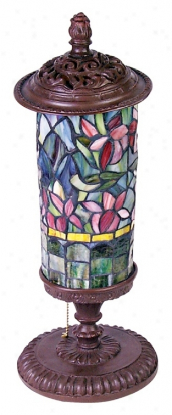 Floral Tiffany Style Glass Cylinder Lamp (m1608)